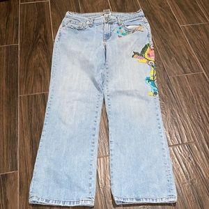 Vintage ZCavaricci embroidered floral light jeans